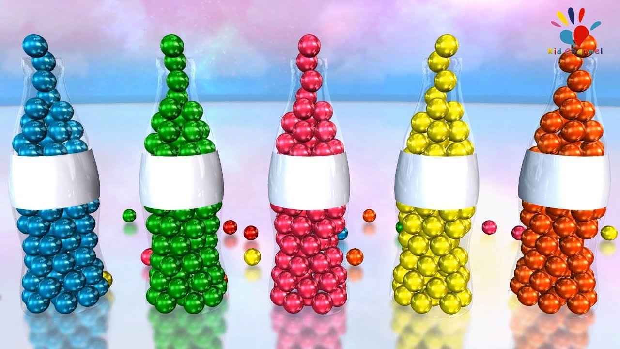 Learn Colors with Colorful Balls & Bottle | Kid Channel 3D