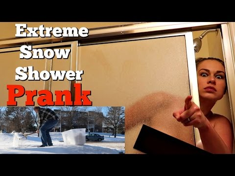 EXTREME SNOW SHOWER PRANK - Insane amount of snow dumped on girl!