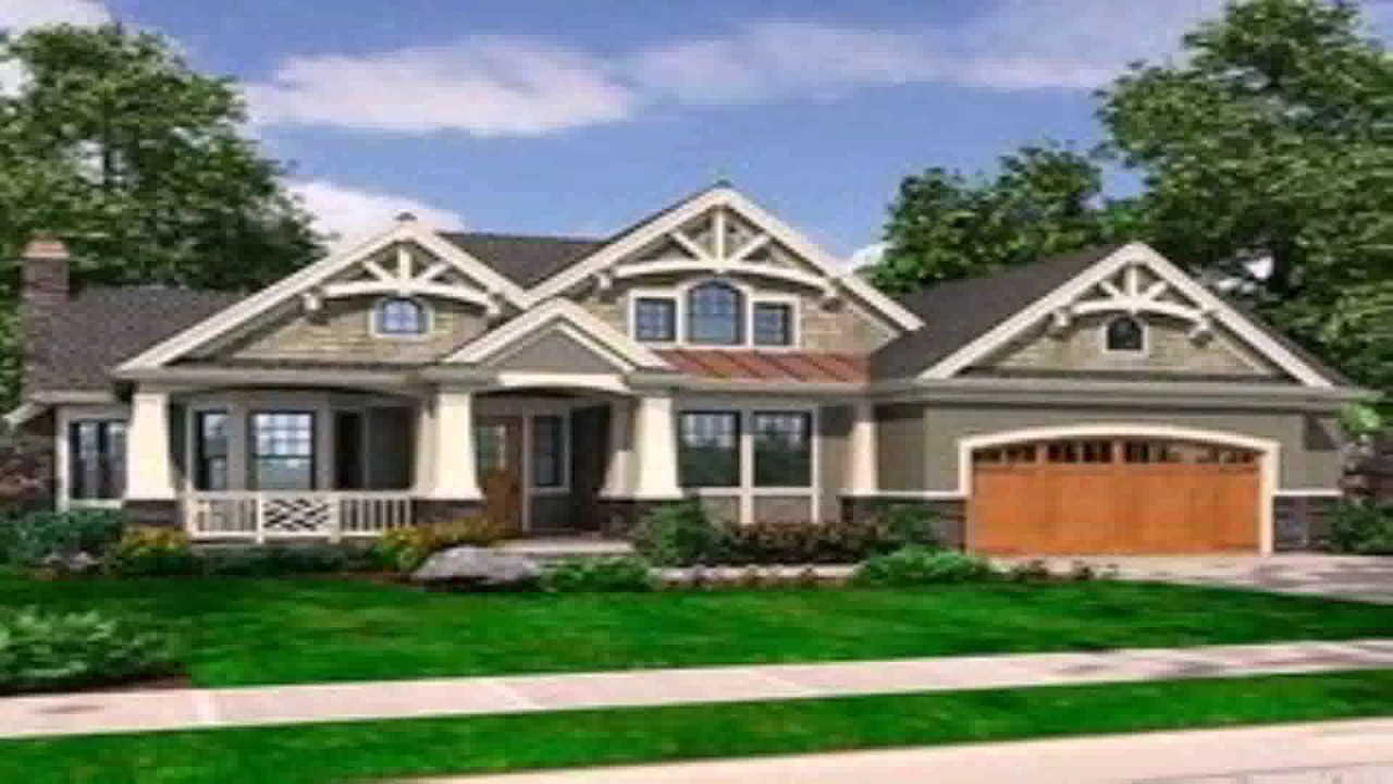 Craftsman Style Rambler House Plans - YouTube