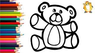 Розмальовка для дітей М'ЯКА ІГРАШКА - ВЕДМЕДИК. Мультик - Розмальовка. Вивчаємо кольори II ОБУЧАШКА ТБ
