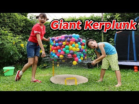 Giant Kerplunk Game! DIY Game With Sticks And Ball Pit Balls
