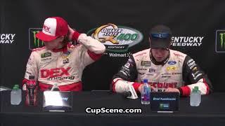 NASCAR at Kentucky Speedway, July 2018: Ryan Blaney, Brad Keselowski post race