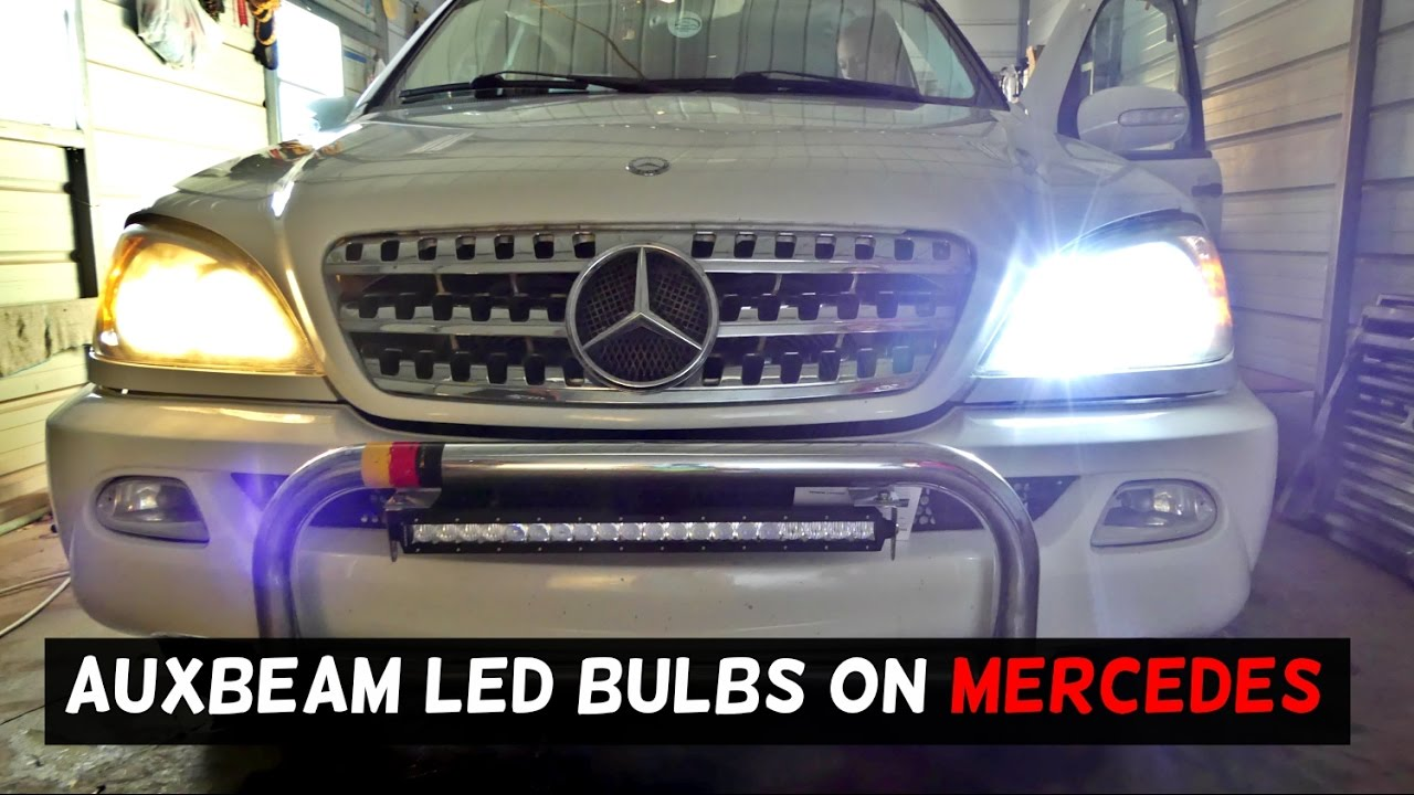 Led headlight bulbs by auxbeam on mercedes w163 youtube for Mercedes benz headlight bulb