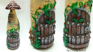 glass bottle art/diy bottle decoration idea/best out of waste bottle craft