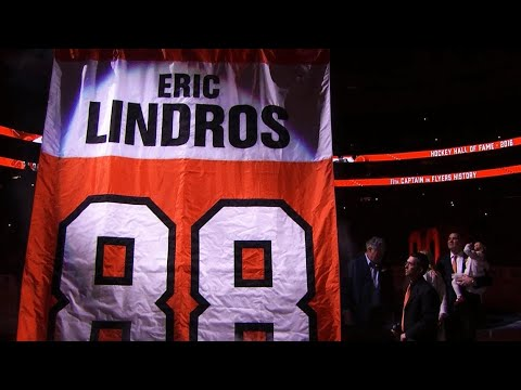 Flyers honour Eric Lindros by retiring his number 88
