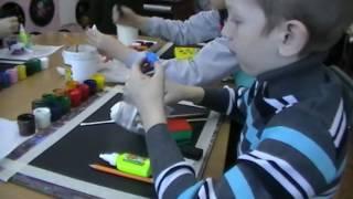 "урок рисования в 1 классе ДШИ ""зимний лес"""