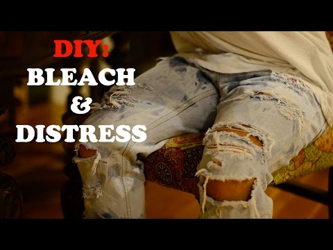 diy-tutorial:-fastest-and-easiest-way-to-distress-and-bleach-denim-jeans