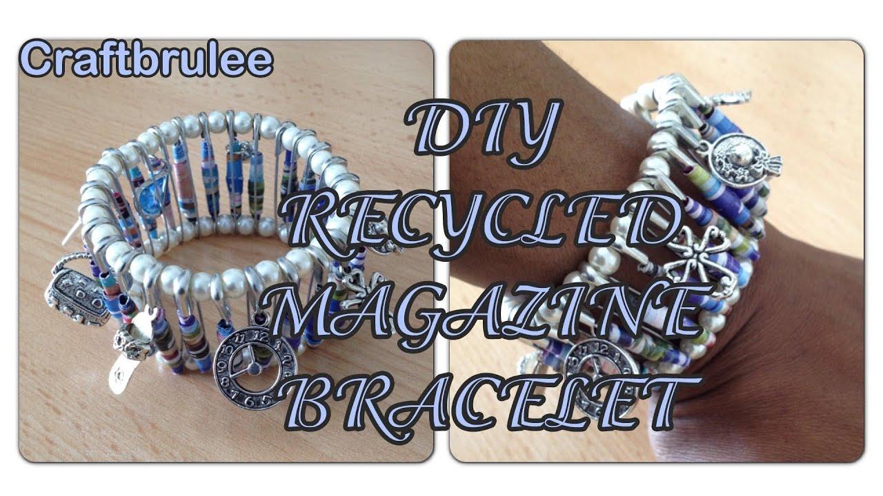 DIY: Recycled Paper Magazine Bracelet - Craftbrulee - YouTube