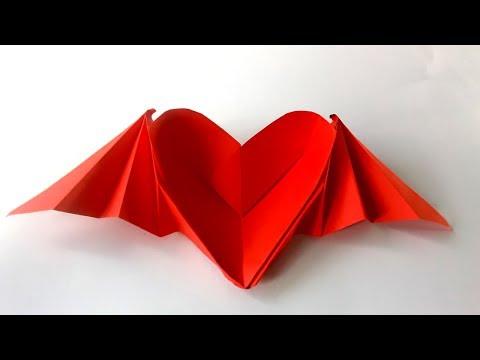 Como hacer un Corazón con alas origami / corazon de papel - Heart with origami wings