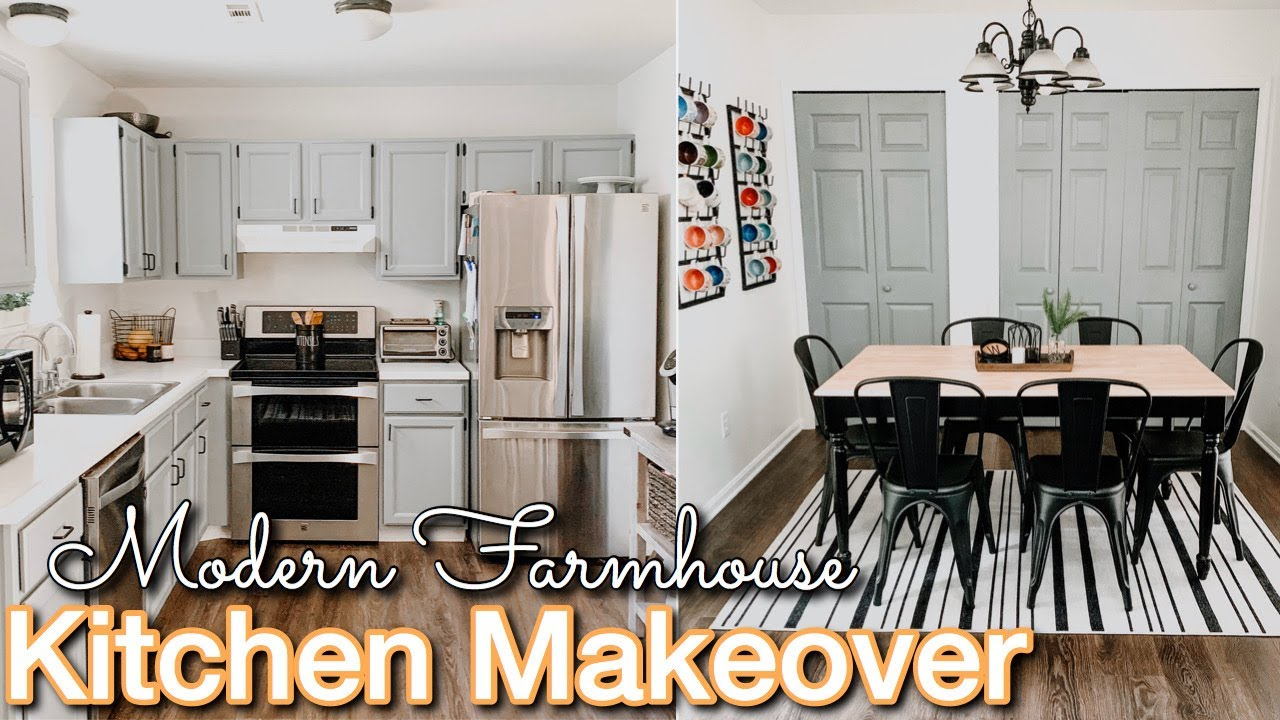 Diy Small Kitchen Makeover On A Budget Decorating Ideas Modern Farmhouse Kitchen Kitchen Diy Youtube