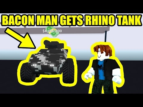 BACON MAN GETS the RHINO TANK   Roblox Mad City