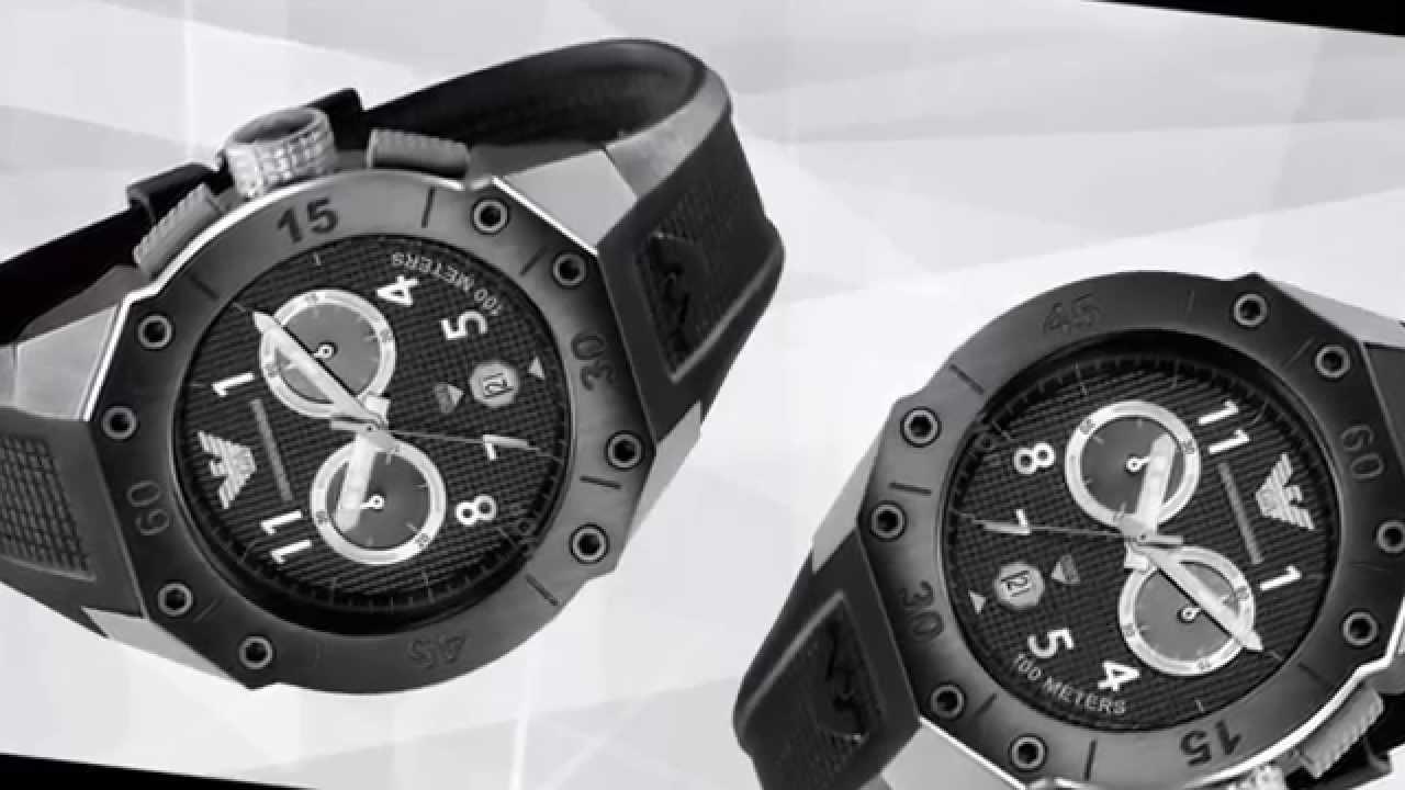 df5c2374d Relógio Emporio Armani Watch, Men's Chronograph Black Rubber Strap 46mm  AR0665 - AR 0665