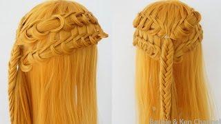 Техника плетения кос #23 - Простая прическа с плетением на длинные волосы
