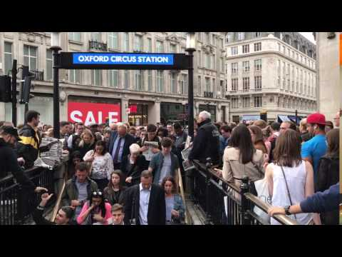 Rush hour in London Oxford Circus station