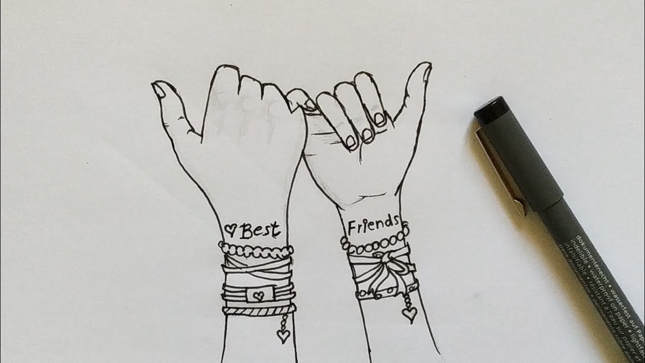 How To Draw Holding Hands Best Friends Easy Step By Step Youtube