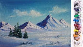 Рисуем Зимний пейзаж с горами и елочками (Масло)
