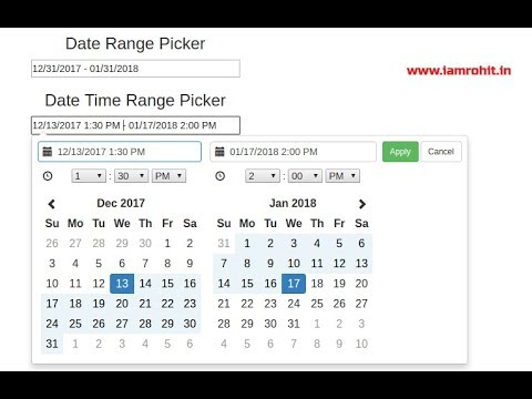 Bootstrap Date Time Range Picker