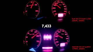 Audi A6 quattro 2.8 vs. 2.5tdi, 60-100, 80-120, 0-160 km/h acceleration