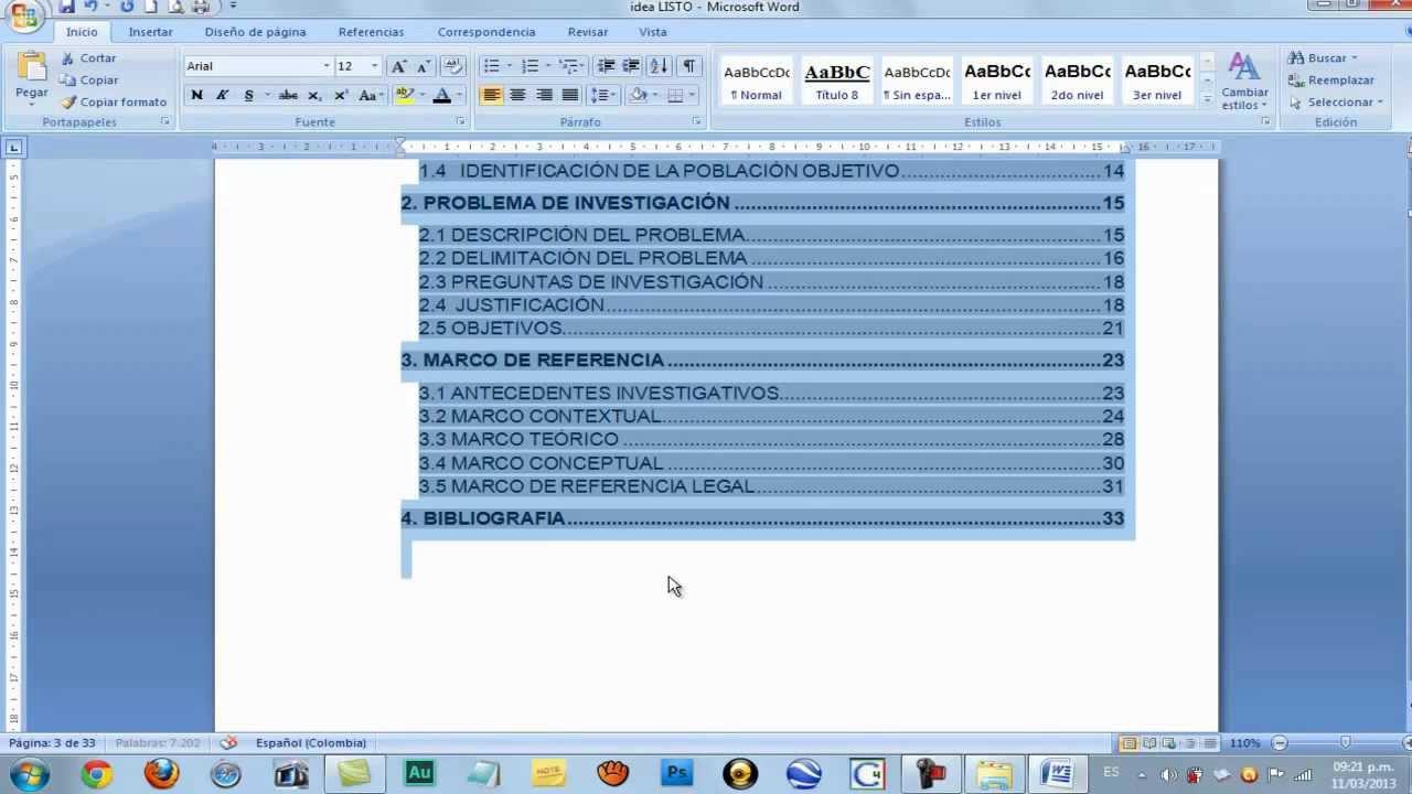 TABLA DE CONTENIDO EN WORD, Hacerla Técnicamente - Microsoft Office ...