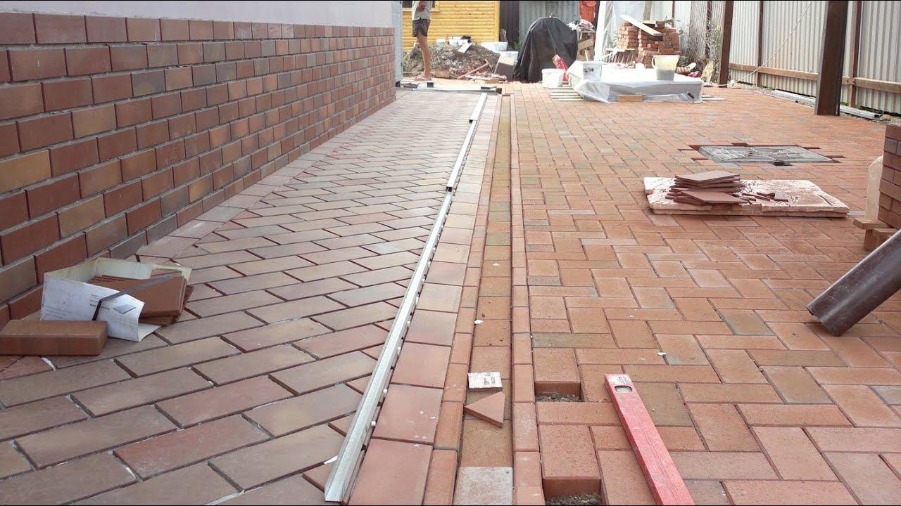 """Самая быстрая укладка тротуарной плитки """"Кирпич"""" - YouTube"""