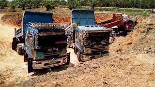 เปิดบ่อใหม่ติดหล่มมิดล้อ รถดั้ม รถแบคโฮ รถไถ dump truck excavator
