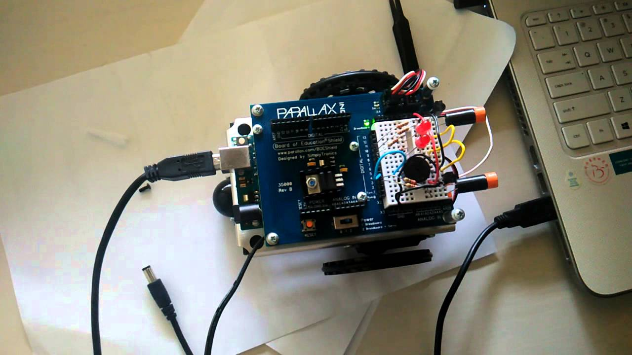 Parallax BOE Shield-Bot with Arduino Uno R3 Sniffing for IR Interference -  5/4/16