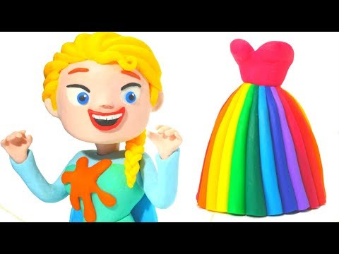 FROZEN ELSA NEW RAINBOW DRESS ❤ Hulk & Superhero Babies Play Doh Cartoons For Kids ❤ Stop Motion