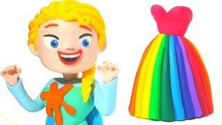 FROZEN ELSA NEW RAINBOW DRESS ❤ Hulk & Superhero Babies Play Doh Cartoons For Kids ❤ Stop Motion