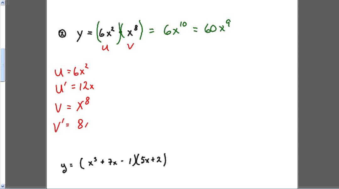 Calculus Product Rule Examples Youtube