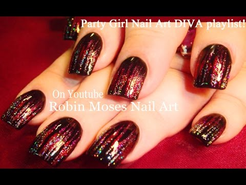 Red Striped Nail Art with HOLO glitter Nails Design Tutorial