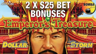⛩ Emperor's Treasure⛩ Dollar Storm 2 X $25 BET BONUS but Is It Enough!? Slot Play at Wynn Casino LV