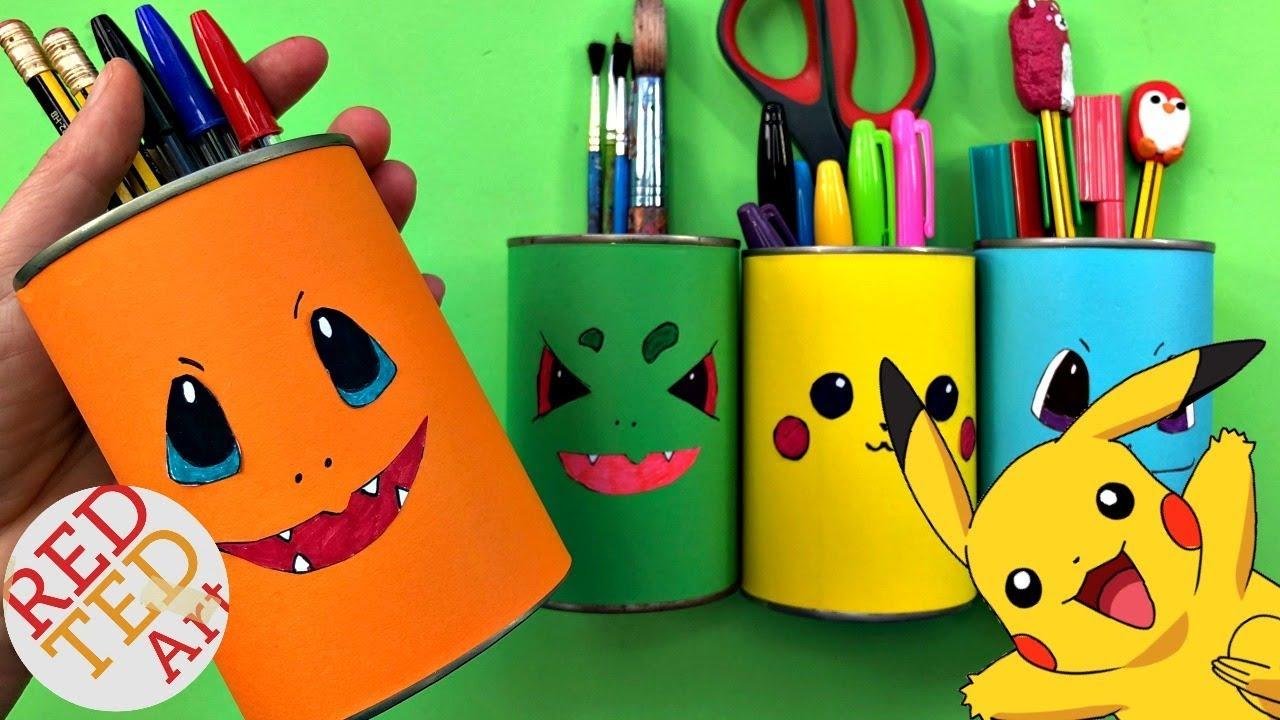 Easy Pokemon Desk Tidy Diy Diy School Supplies Pen Pot