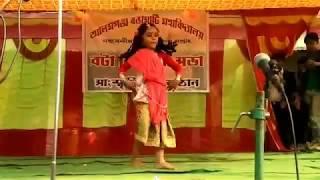 Six years girl dancing in college function.@@@@@Bapuji jara dhire chalo.