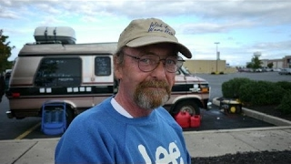 Homeless man lost the house he lived in for 27 years and now lives in a van.