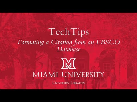 TechTips: Format an APA Citation from EBSCO