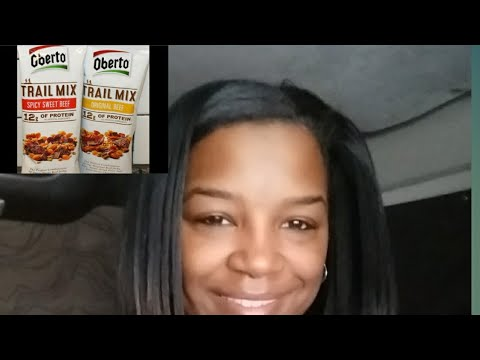 Healthy Snack Review -Oberto Trail Mix with Dried Teriyaki Chicken,  Dannon Protein Smoothie Drink