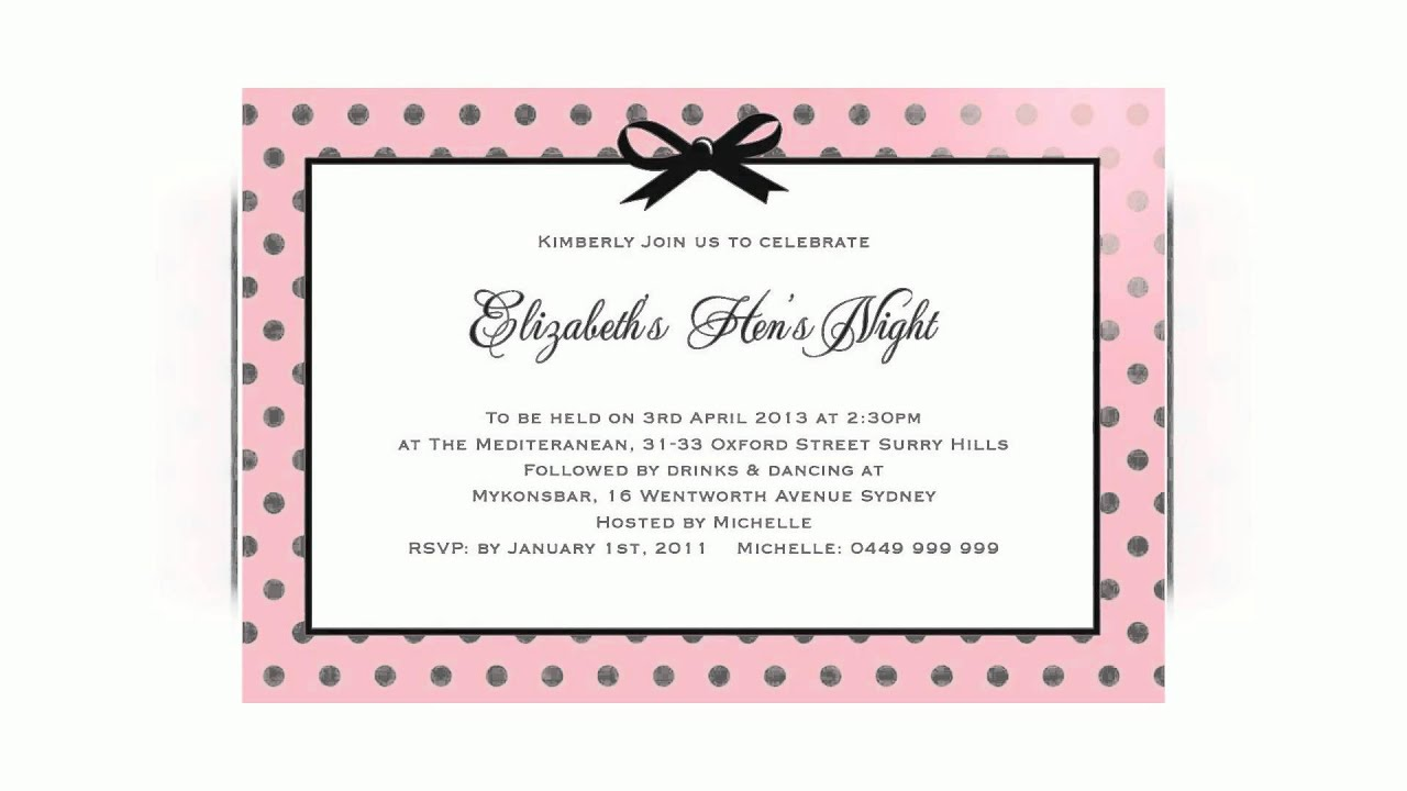 Hen Night Party Invitations - YouTube