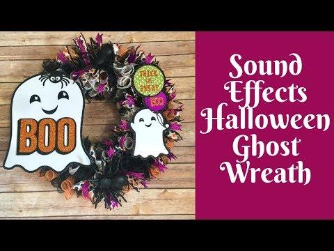 Halloween Crafts: Sound Effects Dollar Tree Ghost Halloween Wreath