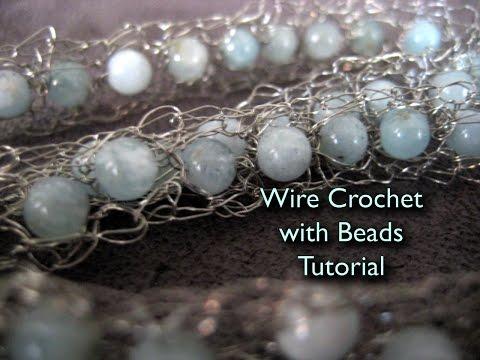 Wire Crochet Bracelet with Beads