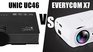 UNIC UC46 vs EVERYCOM X7 Сравнение проекторов из Китая тестовым видео.