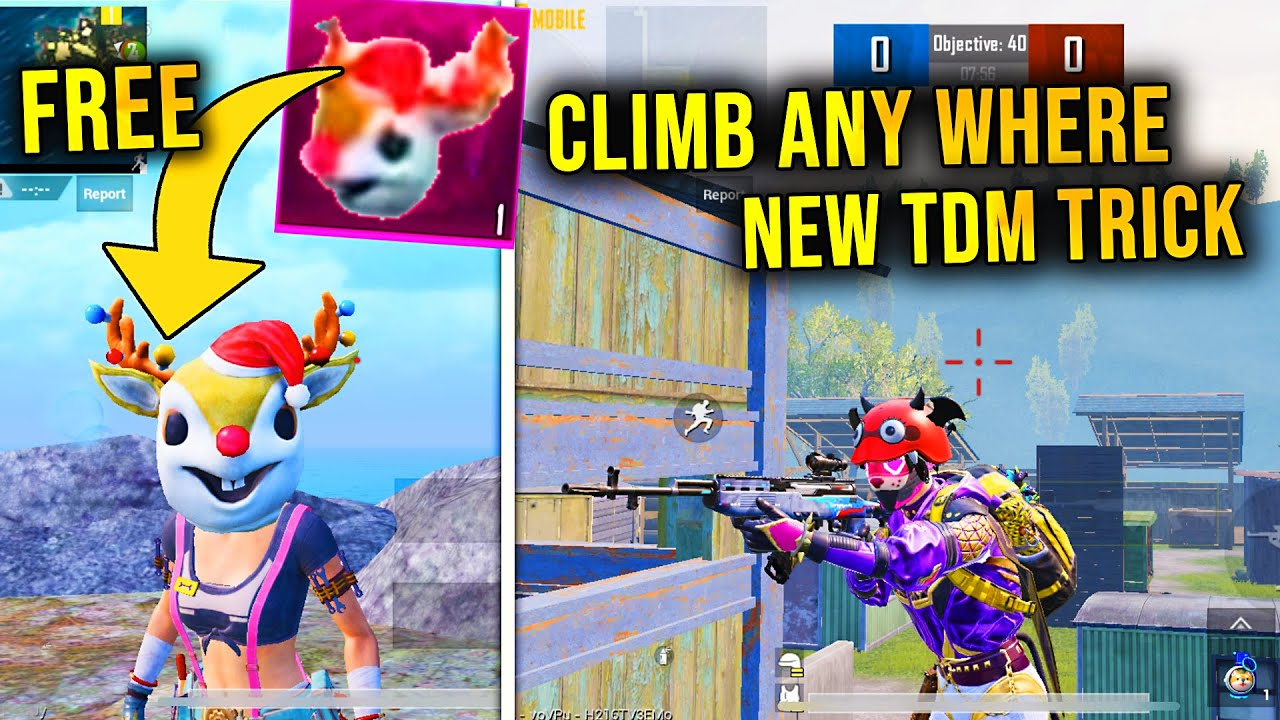 NEW TDM MODE GITCH (CLIMB ANY WHERE) | NEW FREE SARA MASK - PUBG MOBILE