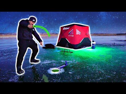 INSANE Night Ice Fishing W/ Glow Lights!!! (IT WORKED!)