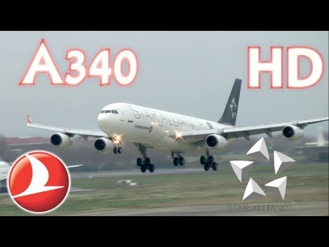 Turkish Airlines A340 Star Alliance Crosswind Landing to Istanbul Airport THY inişi HD