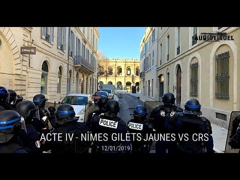 Nîmes - Guérilla Urbaine - Gilets Jaunes vs CRS - Acte IX - 12/01/2019
