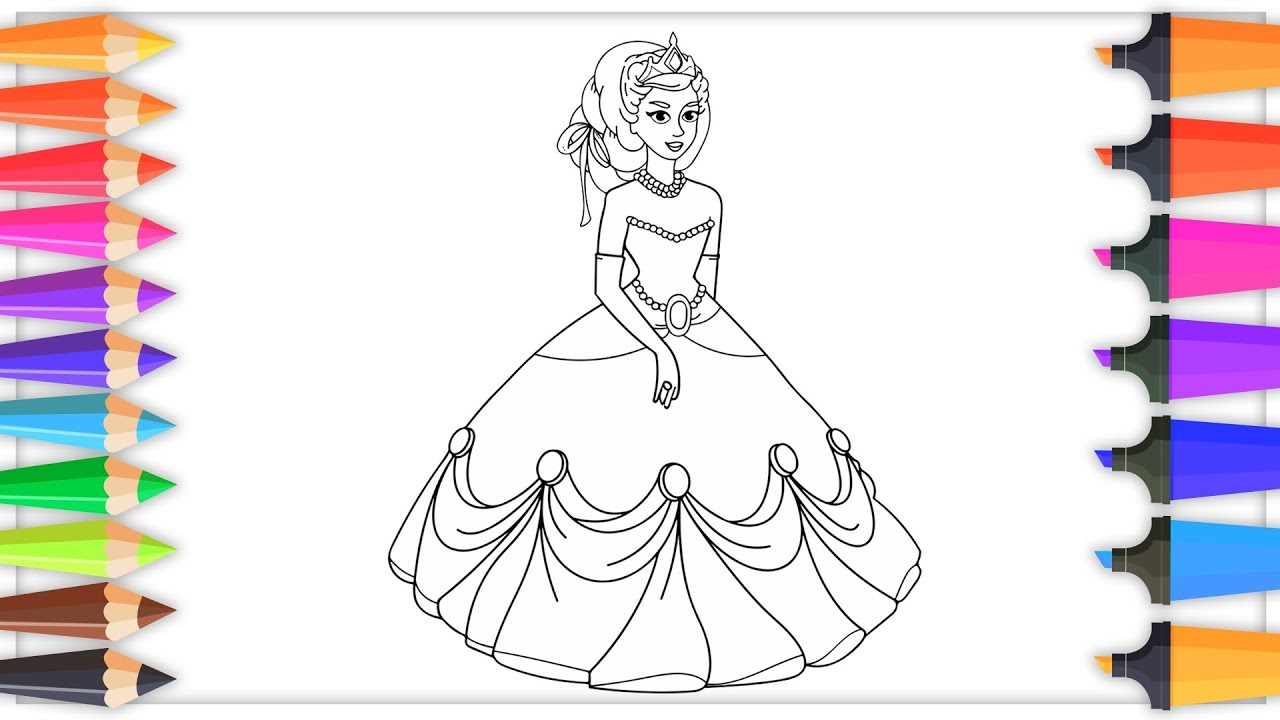 Learn colors by coloring princess doll barbie drawing pages for kids simple coloring pages