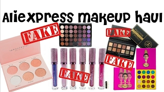 Aliexpress makeup haul, fake Nicole guerriero glow kit,fake juvias place masquerade mini & more
