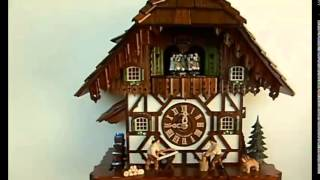 Sc 8tmt 5483 9 8 Day Musical Chalet With Men Cutting Wood Cuckoo Clock