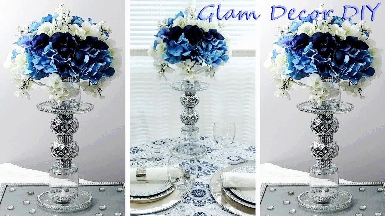 Dollar Tree Diy Glam Candle Holder Floral Wedding Centerpiece Youtube