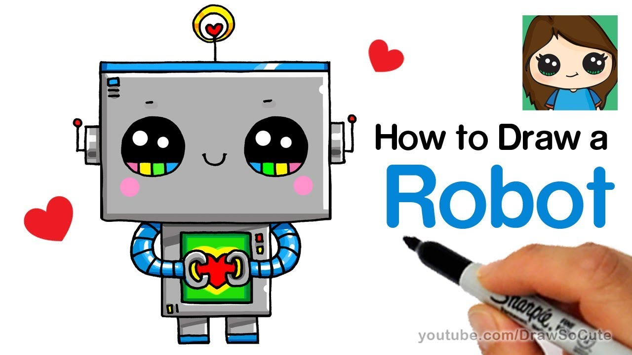How To Draw A Robot Super Easy And Cute Youtube