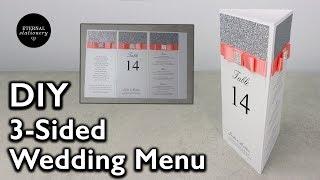 DIY 3-sided Wedding Menu | Tri-menu, Wedding Invitations
